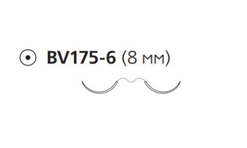 Пронова (Pronova) 8/0, длина 60см, 2 кол. иглы 8мм BV175, 3/8 окр., синяя нить (PN1890G)