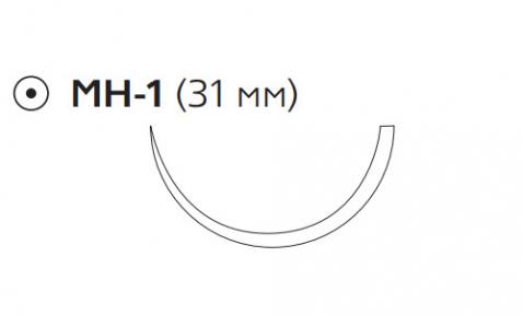 ПДС II (PDS II) 4/0, длина 70см, кол. игла 31мм W9131H
