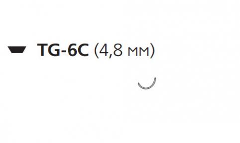 Пролен (Prolene) 10/0, длина 30см, шпательная игла 4,8мм, сложный изгиб (W7796)