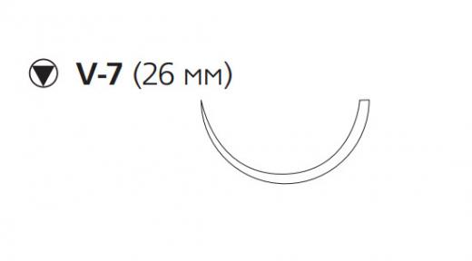 Рассасывающийся шовный материал Викрил (Vicryl) 3/0, длина 75см, кол-реж. игла 26мм, 1/2 окр., фиолетовая нить (W9180) Ethicon (Этикон)