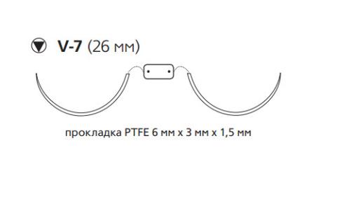Этибонд Эксель (Ethibond Excel) 2/0, нить с прокладкой PTFE 4шт по 90см, 2 кол-реж. иглы 26мм, 1/2 окр., зеленая нить (W4B77)