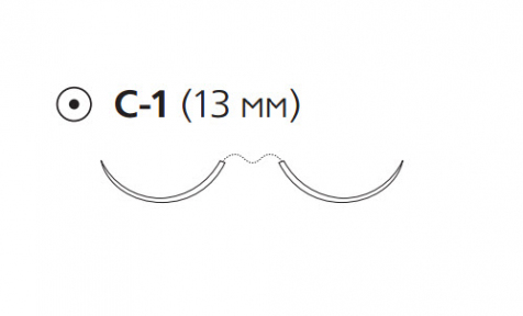 ПДС II (PDS II) 7/0, длина 45см, 2 кол. иглы 13мм W9095T