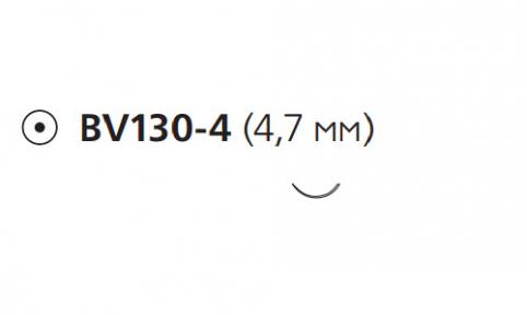 Нерассасывающийся шовный материал Пролен (Prolene) 9/0, длина 13см, кол. игла 4,7мм BV130, 3/8 окр. (W2780) Ethicon (Этикон)