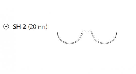 Этибонд Эксель (Ethibond Excel) 2/0, 10шт. по 75см, 2 кол. иглы 20мм, 1/2 окр., зеленая нить (W10B62)