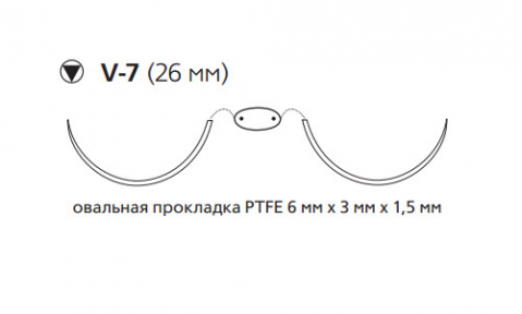 Нерассасывающийся шовный материал Этибонд Эксель (Ethibond Excel) 2/0, нить с прокладкой PTFE 4шт по 90см, 2 кол-реж. иглы 26мм, 1/2 окр., зеленая, белая нить (MEH7710LG) Ethicon (Этикон)