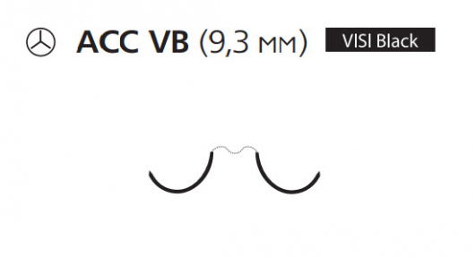 Пролен (Prolene) 6/0, длина 75см, 2 кол. иглы 9,3мм ACC Visi Black EH8025H