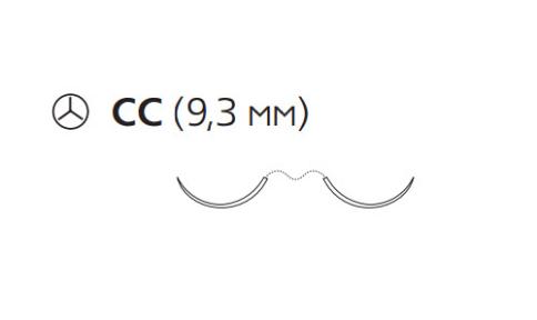 Нерассасывающийся шовный материал Пронова (Pronova) 7/0, длина 60см, 2 кол. иглы 9,3мм CC , 3/8 окр., синяя нить (PN1839H) Ethicon (Этикон)