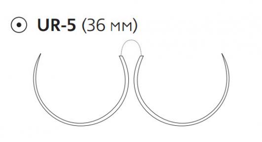 Монокрил (Monocryl) 2/0, длина 70см, 2 кол. иглы 36мм W3604
