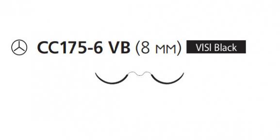 Пролен (Prolene) 8/0, длина 60см, 2 кол. иглы 8мм CC175 Visi Black, для кальцинирования сосудов, 3/8 окр. (W8101)