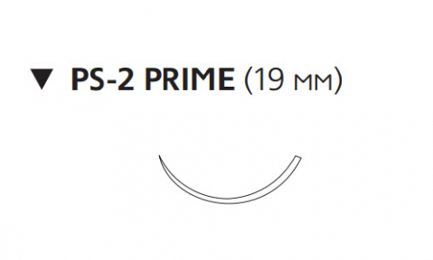 Этилон (Ethilon) 5/0, длина 45см, обр-реж. игла 19мм Prime, 3/8 окр., черная нить (W1618T)