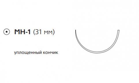 Этибонд Эксель (Ethibond Excel) 0, длина 75см, кол. игла 31мм, 1/2 окр., уплощенный кончик, зеленая нить (W975)