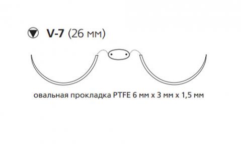 Нерассасывающийся шовный материал Этибонд Эксель (Ethibond Excel) 2/0, нить с прокладкой PTFE 8шт по 75см, 2 кол-реж. иглы 26мм, 1/2 окр., зеленая, белая нить (MEH7716N) Ethicon (Этикон)