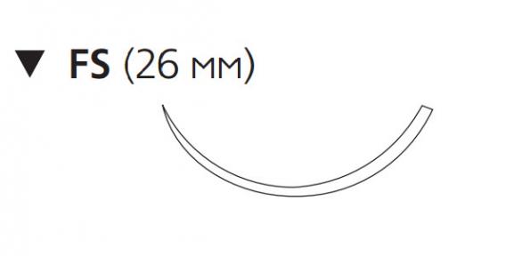Монокрил (Monocryl) 3/0, длина 70см, обр-реж. игла 26мм, 3/8 окр., неокрашенная нить (W3326)