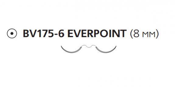 Пролен (Prolene) 7/0, длина 60см, 2 кол. иглы 8мм BV175 Everpoint EP8735H