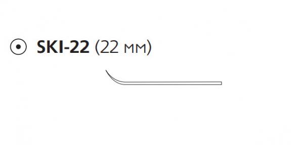 Викрил (Vicryl) 2/0, длина 20см, кол. игла 22мм, лыжеобразная, фиолетовая нить (E9902S)