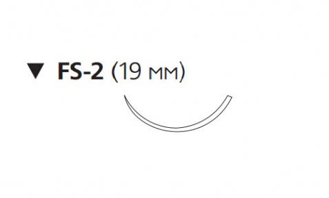 Нерассасывающийся шовный материал Этилон (Ethilon) 4/0, длина 45см, обр-реж. игла 19мм, 3/8 окр., синяя нить (W319) Ethicon (Этикон)
