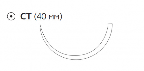 Рассасывающийся шовный материал Викрил (Vicryl) 1, длина 75см, кол. игла 40мм, 1/2 окр., фиолетовая нить (W9231) Ethicon (Этикон)