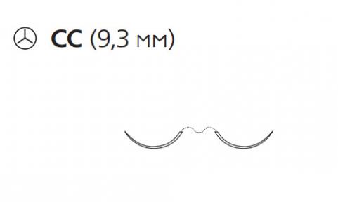 Нерассасывающийся шовный материал Пролен (Prolene) 7/0, длина 60см, 2 кол. иглы 9,3мм CC, для кальцинирования сосудов, 3/8 окр. (W8704) Ethicon (Этикон)