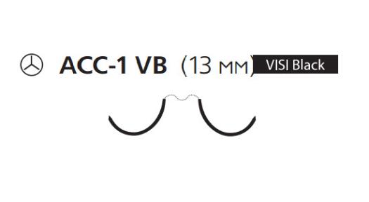 Нерассасывающийся шовный материал Пролен (Prolene) 6/0, длина 90см, 2 кол. иглы 13мм ACC-1 Visi Black, сложный изгиб (EH8031H) Ethicon (Этикон)