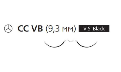 Нерассасывающийся шовный материал Пролен (Prolene) 6/0, длина 75см, 2 кол. иглы 9,3мм CC Visi Black, для кальцинирования сосудов, 3/8 окр. (X1012H) Ethicon (Этикон)