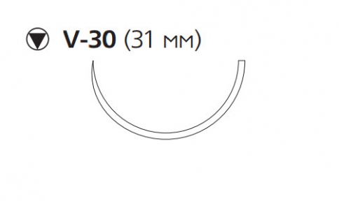 Викрил Плюс (Vicryl Plus) 1, длина 70см, кол-реж. игла 31мм, 1/2 окр., фиолетовая нить (VCP9362H)