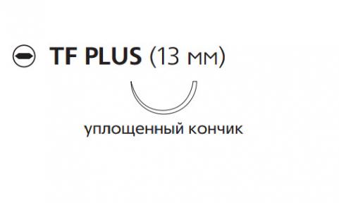 Рассасывающийся шовный материал с антибактериальным покрытием Викрил Плюс (Vicryl Plus) 4/0, длина 70см, кол. игла 13мм, 1/2 окр., уплощенный кончик, фиолетовая нить (VCP924H) Ethicon (Этикон)