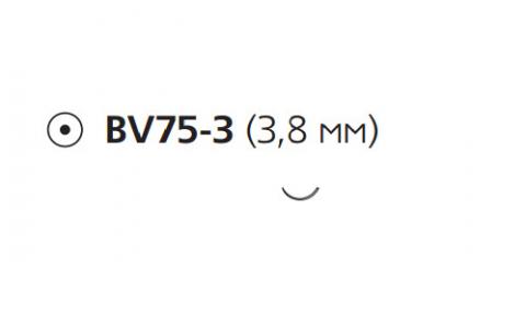 Нерассасывающийся шовный материал Этилон (Ethilon) 9/0, длина 13см, кол. игла 3,8мм BV75, 3/8 окр., черная нить (W2870) Ethicon (Этикон)