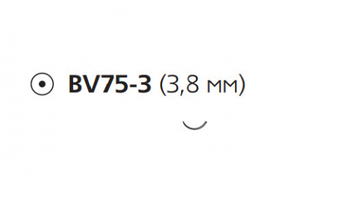 Этилон (Ethilon) 9/0, длина 13см, кол. игла 3,8мм BV75 W2870