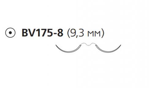 Нерассасывающийся шовный материал Пролен (Prolene) 7/0, длина 60см, 2 кол. иглы 9,3мм BV175, 3/8 окр. (W8702) Ethicon (Этикон)