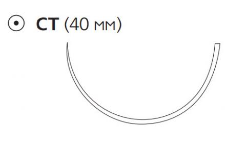 Пролен (Prolene) 1, длина 100см, кол. игла 40мм, 1/2 окр. (W742)