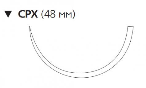 Рассасывающийся шовный материал Викрил (Vicryl) 1, длина 90см, обр-реж. игла 48мм, 1/2 окр., фиолетовая нить (W9496) Ethicon (Этикон)