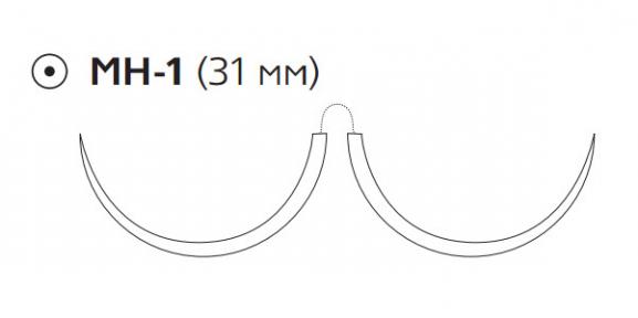 Викрил (Vicryl) 2/0, длина 75см, 2 кол. иглы 31мм W9636