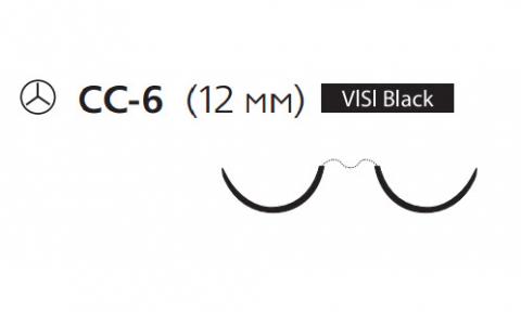 Пролен (Prolene) 7/0, длина 60см, 2 кол. иглы 12мм CC Visi Black, для кальцинирования сосудов, 1/2 окр. (X1004G)