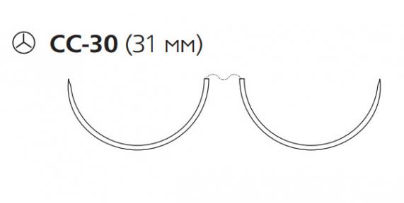Пролен (Prolene) 2/0, длина 90см, 2 кол. иглы 31мм CC W8850
