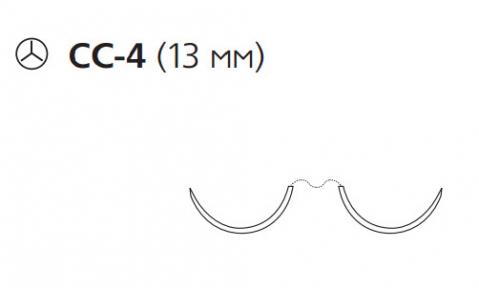 Нерассасывающийся шовный материал Пролен (Prolene) 4/0, длина 75см, 2 кол. иглы 13мм CC, соединение нити и иглы HemoSeal, для кальцинирования сосудов, 1/2 окр. (W8665) Ethicon (Этикон)