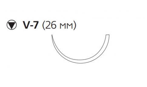 Монокрил (Monocryl) 2/0, длина 70см, кол-реж. игла 26мм, 1/2 окр., фиолетовая нить (W3440)