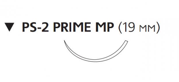 Монокрил (Monocryl) 3/0, длина 45см, обр-реж. игла 19мм Prime MP, 3/8 окр., неокрашенная нить (MPY497H)