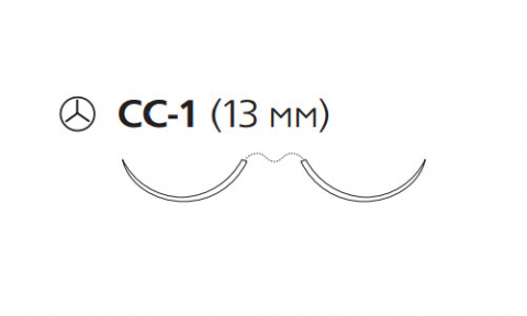 Рассасывающийся шовный материал с антибактериальным покрытием ПДС Плюс (PDS Plus) 6/0, длина 70см, 2 кол. иглы 13мм, 3/8 окр., фиолетовая нить (PDP1032H) Ethicon (Этикон)