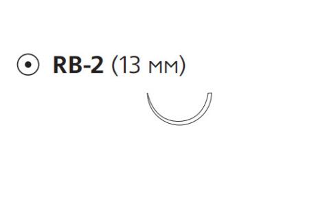 Рассасывающийся шовный материал с антибактериальным покрытием ПДС Плюс (PDS Plus) 6/0, длина 45см, кол. игла 13мм, 1/2 окр., фиолетовая нить (PDP9100H) Ethicon (Этикон)