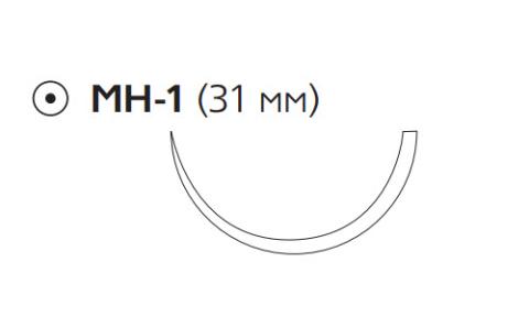 Нерассасывающийся шовный материал Этилон (Ethilon) 2/0, длина 100см, кол. игла 31мм, 1/2 окр., черная нить (W568) Ethicon (Этикон)