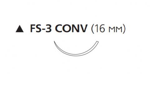 Викрил (Vicryl) 3/0, длина 75см, реж. игла 16мм Conv W9444