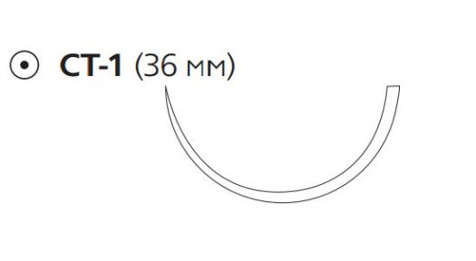Рассасывающийся шовный материал с антибактериальным покрытием Викрил Плюс (Vicryl Plus) 1, длина 90см, кол. игла 36мм, 1/2 окр., фиолетовая нить (VCP347H) Ethicon (Этикон)