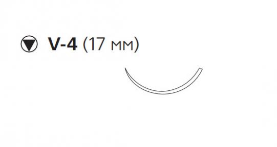 Викрил (Vicryl) 3/0, длина 75см, кол-реж. игла 17мм, 3/8 окр., неокрашенная нить (W9826)