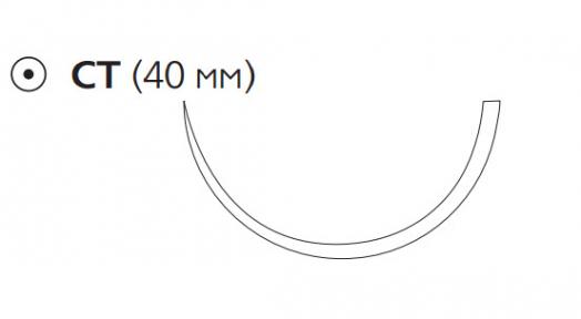 Рассасывающийся шовный материал с антибактериальным покрытием Викрил Плюс (Vicryl Plus) 1, длина 70см, кол. игла 40мм, 1/2 окр., фиолетовая нить (VCP353H) Ethicon (Этикон)