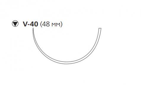 Нерассасывающийся шовный материал Этибонд Эксель (Ethibond Excel) 0, длина 75мм, кол-реж. игла 48мм, 3/8 окр., зеленая нить (W979) Ethicon (Этикон)