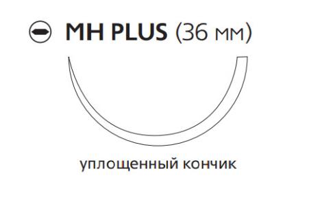 Рассасывающийся шовный материал с антибактериальным покрытием Монокрил Плюс (Monocryl Plus) 1, длина 70см, кол. игла 36мм, 1/2 окр., уплощенный кончик, фиолетовая нить (MCP229H) Ethicon (Этикон)