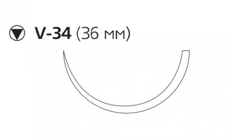 Монокрил (Monocryl) 2/0, длина 70см, кол-реж. игла 36мм W3488