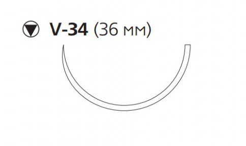 Рассасывающийся шовный материал с антибактериальным покрытием Викрил Плюс (Vicryl Plus) 2, длина 90см, кол-реж. игла 36мм, 1/2 окр., фиолетовая нить (VCP520H) Ethicon (Этикон)