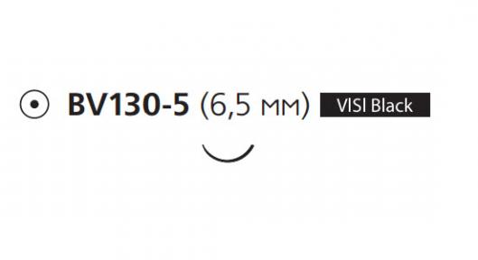 Нерассасывающийся шовный материал Этилон (Ethilon) 8/0, длина 13см, кол. игла 6,5мм BV130 Visi Black, 3/8 окр., черная нить (W2908) Ethicon (Этикон)