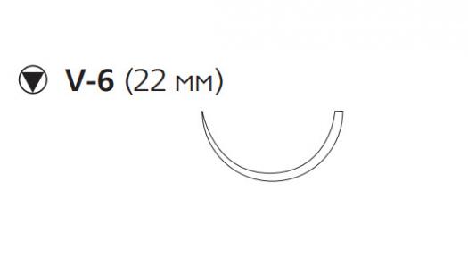 Викрил (Vicryl) 2/0, длина 75см, кол-реж. игла 22мм W9828